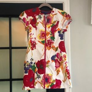 Zip up floral shortsleeve dress